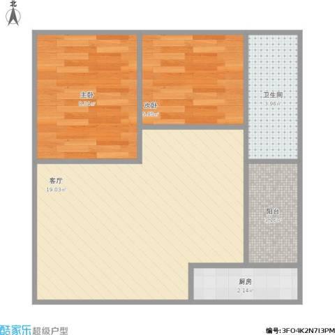 盛世江南2室1厅1卫1厨58.00㎡户型图
