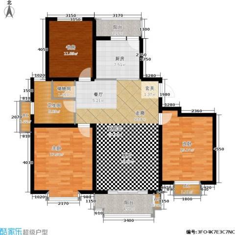 海正香醍湾3室0厅1卫1厨119.00㎡户型图
