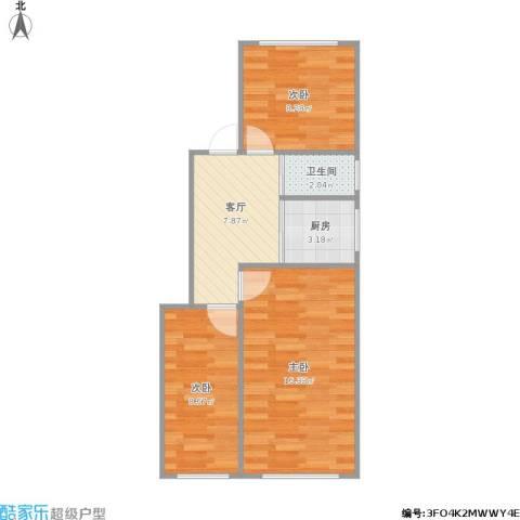 水西门大街小区3室1厅1卫1厨63.00㎡户型图