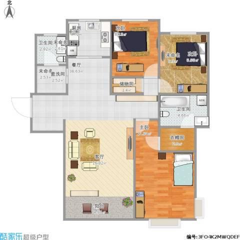 水木清华三期3室1厅1卫1厨120.00㎡户型图