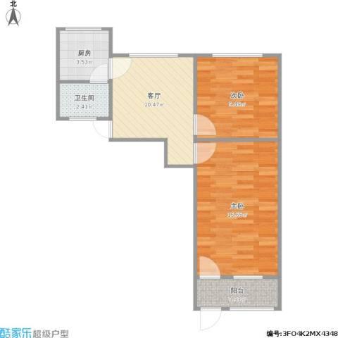 东妙峰庵2室1厅1卫1厨61.00㎡户型图