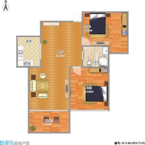 天鹅湖1号2室1厅1卫1厨103.00㎡户型图