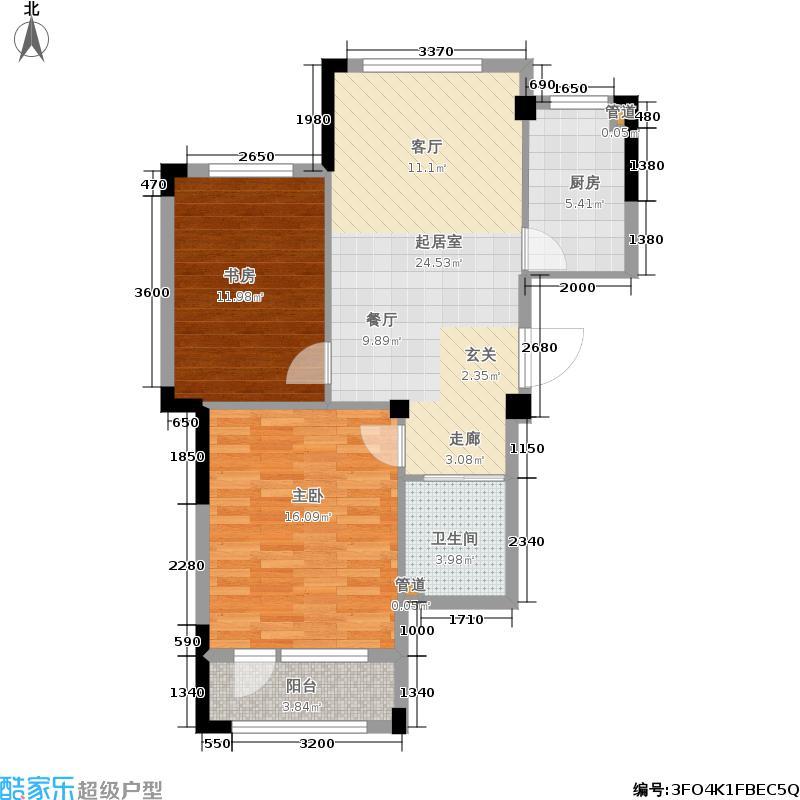 澳海澜庭74.00㎡三期10/12号楼C3户型