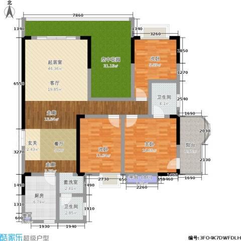 滨江豪庭3室0厅2卫1厨144.00㎡户型图