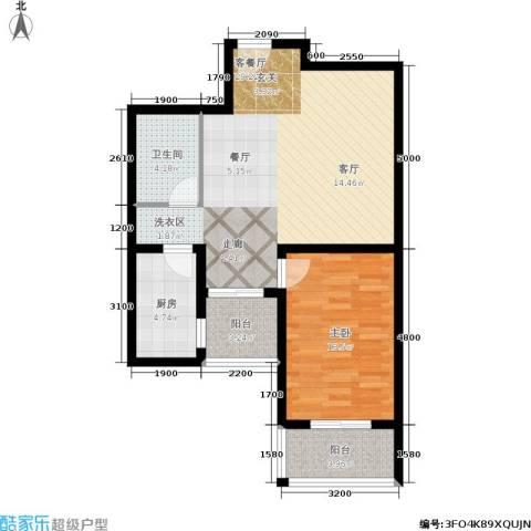 上东三角洲1室1厅1卫1厨80.00㎡户型图