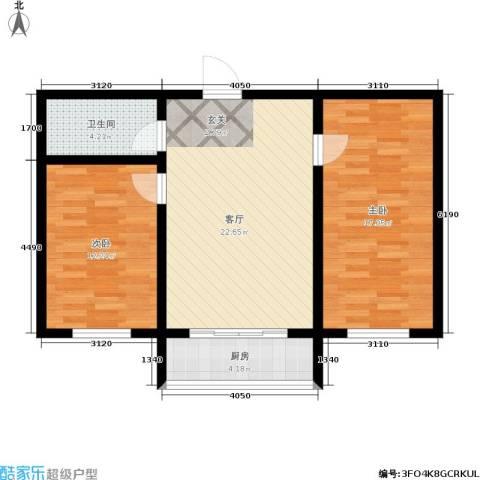 江岸龙苑2室1厅1卫1厨69.00㎡户型图