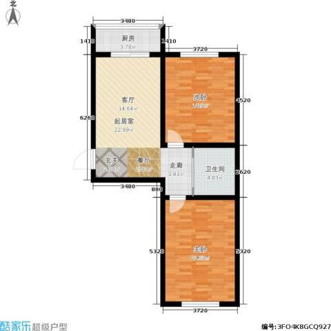 江岸龙苑2室0厅1卫1厨73.00㎡户型图