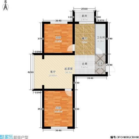江岸龙苑2室0厅1卫1厨79.00㎡户型图