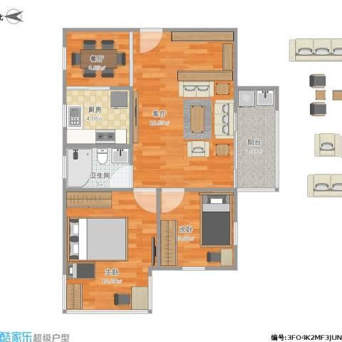 华厦花园2室2厅1卫1厨72.00㎡户型图