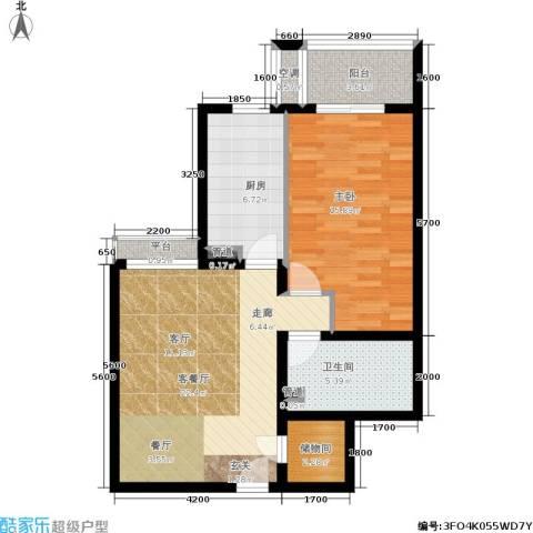 银领国际1室1厅1卫1厨80.00㎡户型图