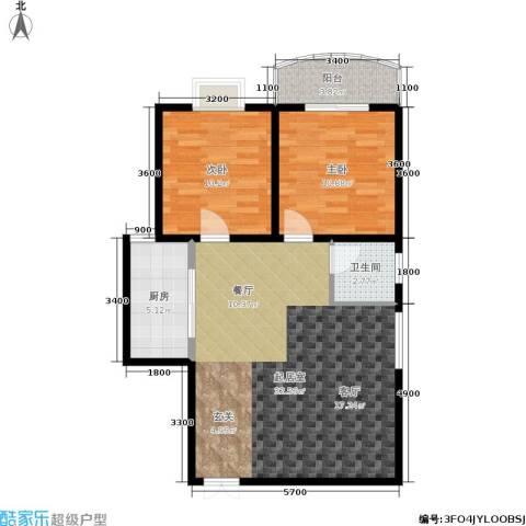 尚东国际城2室0厅1卫1厨88.00㎡户型图