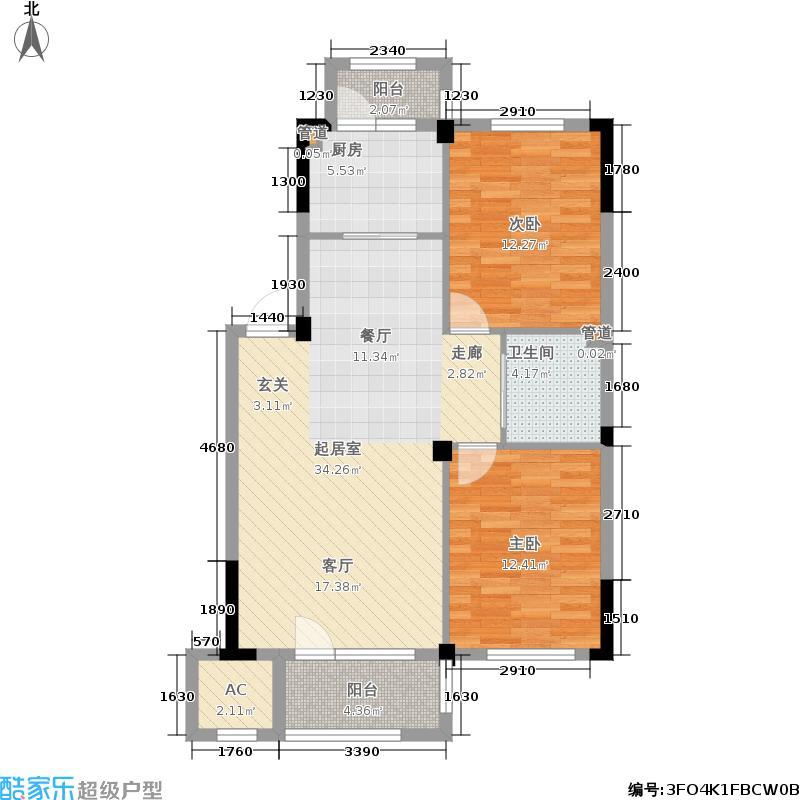 澳海澜庭87.00㎡二期26/27/31号楼D1户型
