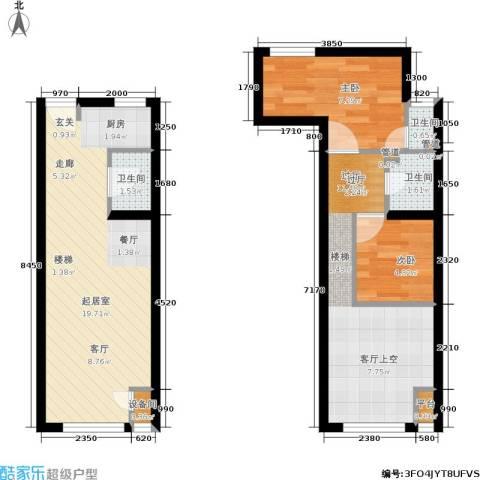 裕东公寓2室0厅3卫0厨56.00㎡户型图
