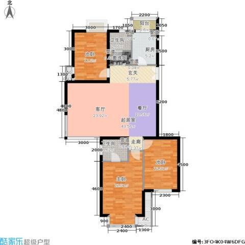 时代龙和大道3室0厅2卫1厨134.00㎡户型图