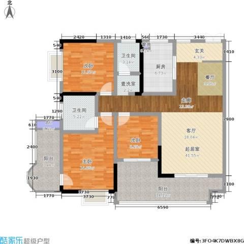 滨江豪庭3室0厅2卫1厨132.00㎡户型图