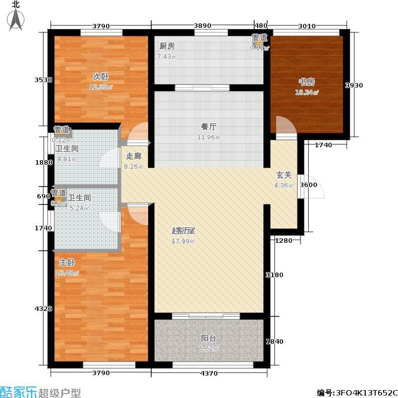 朗诗天萃119.00㎡朗诗·天萃天墅·环景三居户型3室2厅