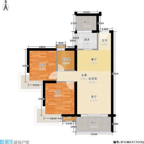翡翠山湖三期臻萃园2室0厅1卫1厨87.00㎡户型图