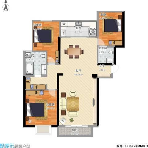 华润中心・凯旋门3室1厅2卫1厨145.00㎡户型图