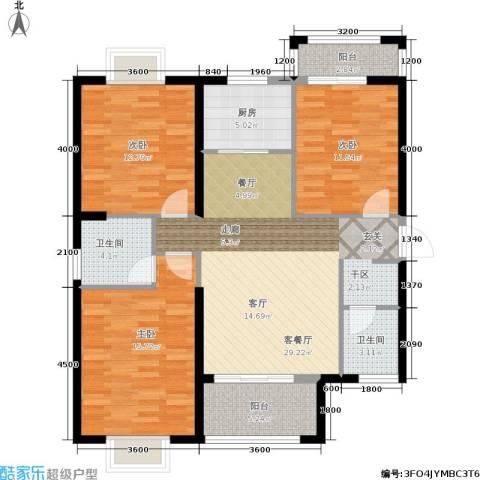 罗马景福城3室1厅2卫1厨128.00㎡户型图