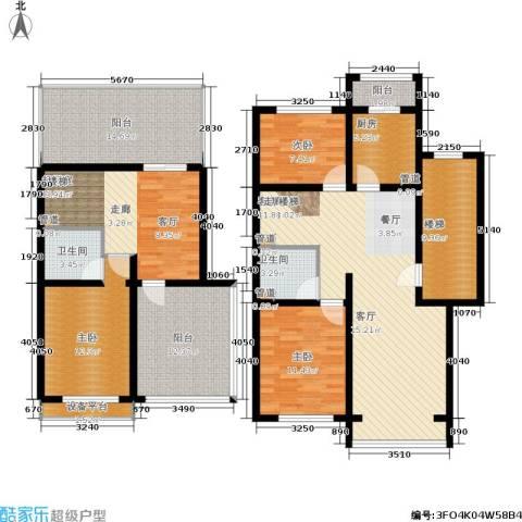 蓝调沙龙雅园3室1厅2卫1厨151.00㎡户型图