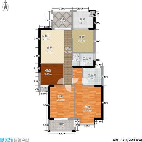罗马景福城3室1厅2卫1厨120.00㎡户型图
