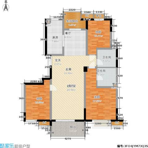 新兴新庆坊3室0厅2卫1厨135.00㎡户型图