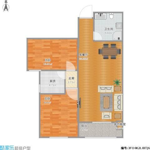 太铁佳苑2室1厅1卫1厨107.00㎡户型图