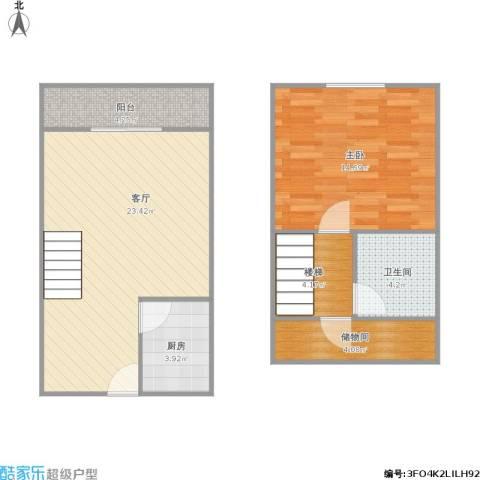 338672金枫国际1室1厅1卫1厨79.00㎡户型图