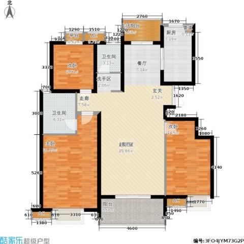 新兴新庆坊3室0厅2卫1厨136.00㎡户型图