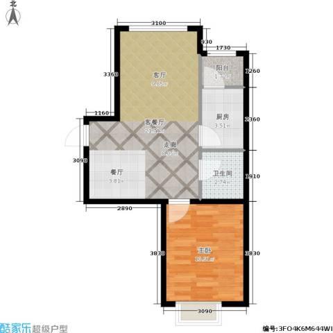 格兰云天1室1厅1卫1厨56.00㎡户型图