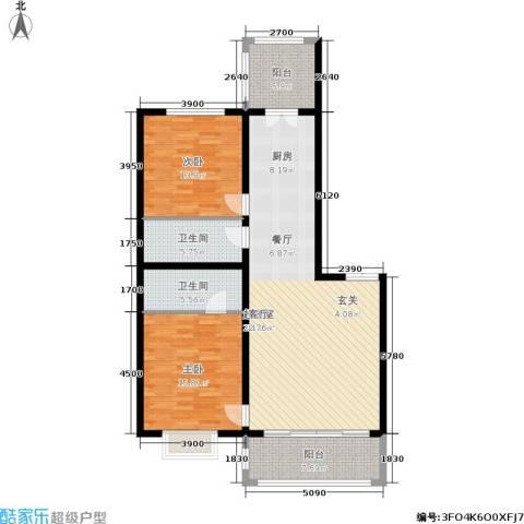 群力观江国际2室0厅2卫0厨136.00㎡户型图