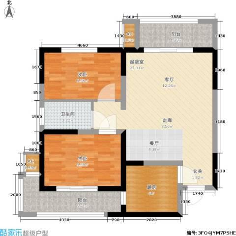 铂廷2室0厅1卫1厨78.00㎡户型图
