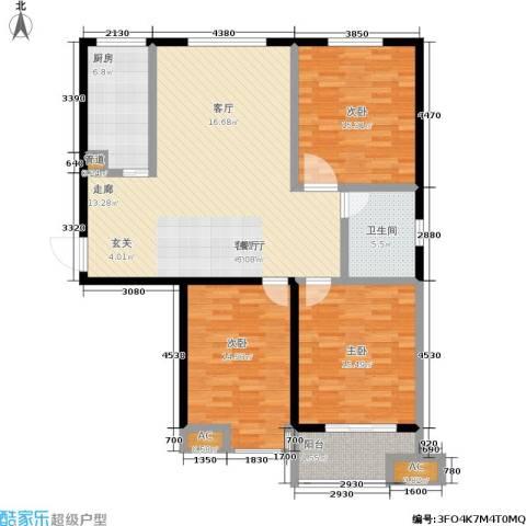 御龙湾3室1厅1卫1厨115.00㎡户型图