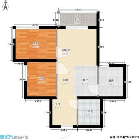 新兴新庆坊2室0厅1卫1厨60.00㎡户型图