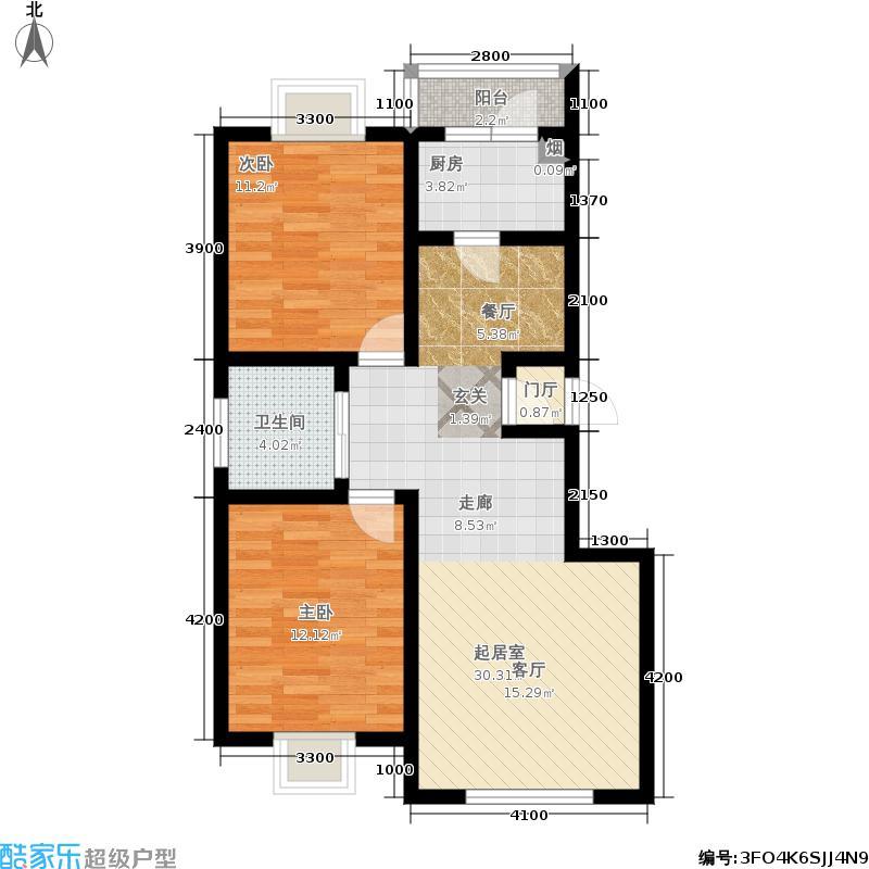 大江原筑两室两厅一卫95平户型