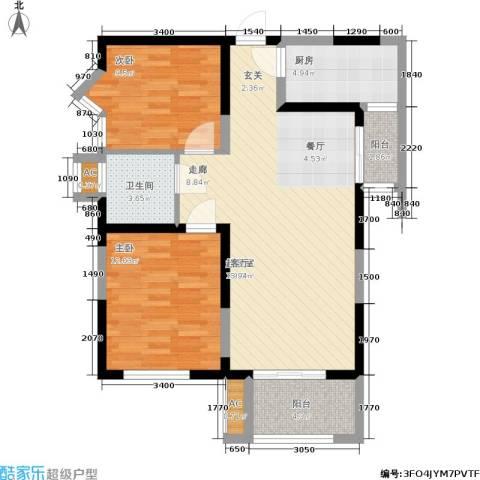 铂廷2室0厅1卫1厨77.00㎡户型图