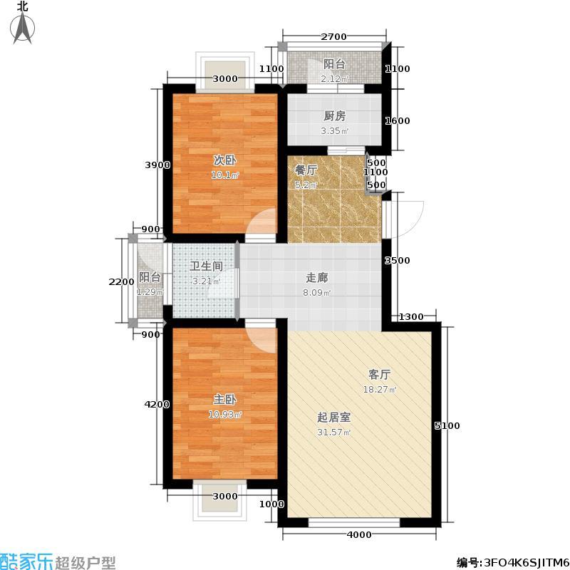 大江原筑两室两厅一卫86平户型