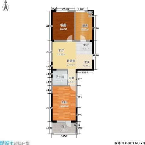 澳海澜庭2室0厅1卫1厨77.00㎡户型图