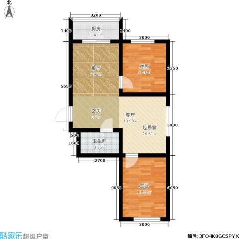 江岸龙苑2室0厅1卫1厨74.00㎡户型图