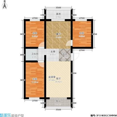 江岸龙苑3室0厅1卫1厨99.00㎡户型图