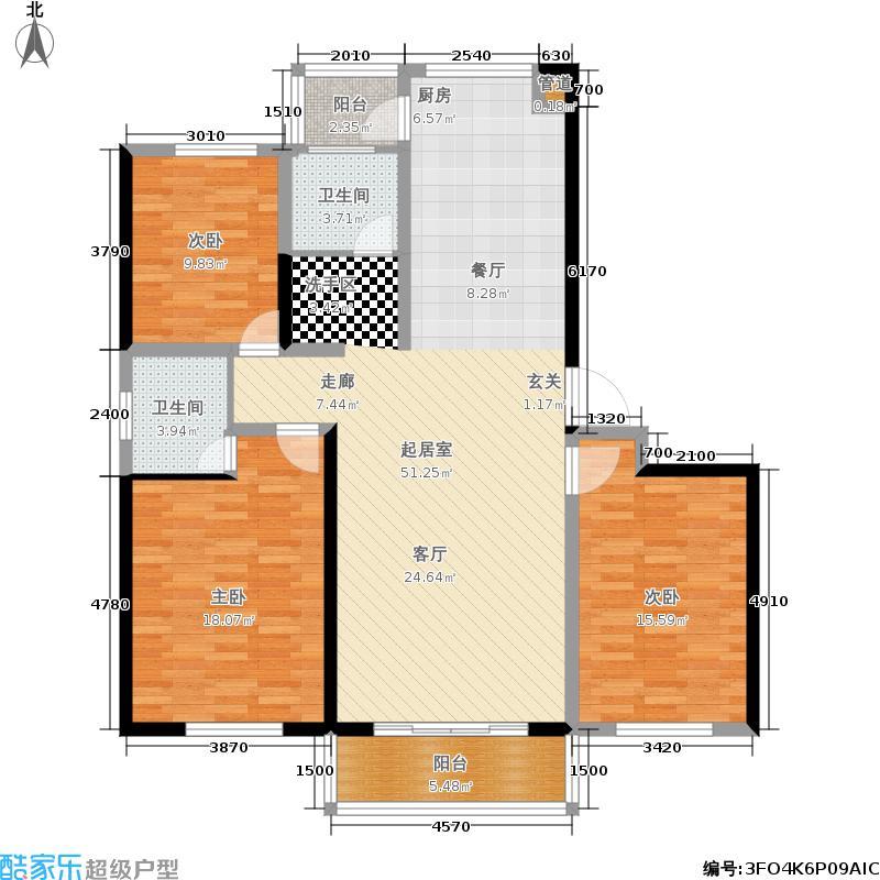 左岸名都左岸名都L户型3室2厅2卫1厨139.95㎡户型3室2厅2卫