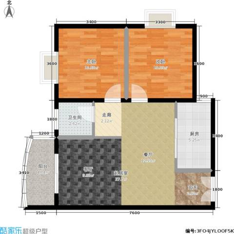 尚东国际城2室0厅1卫1厨83.00㎡户型图