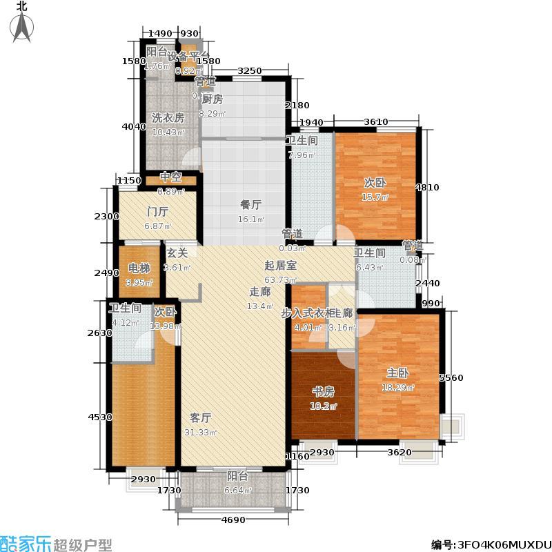 中信府210.00㎡四期11、12、14号楼A8四居户型