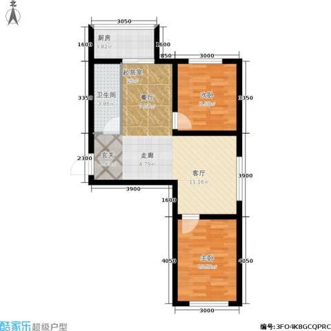 江岸龙苑2室0厅1卫1厨69.00㎡户型图