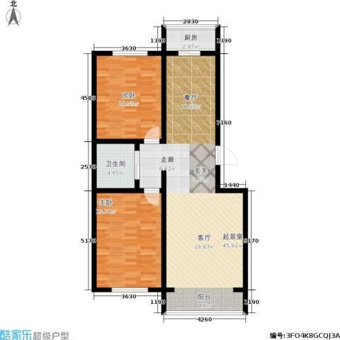 江岸龙苑2室0厅1卫1厨96.00㎡户型图