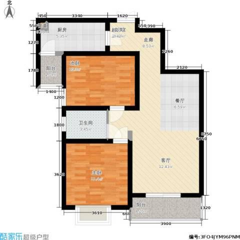 金色花语城2室0厅1卫1厨92.00㎡户型图