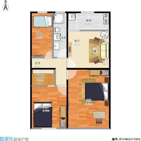 卫生局宿舍楼3室1厅1卫1厨78.00㎡户型图
