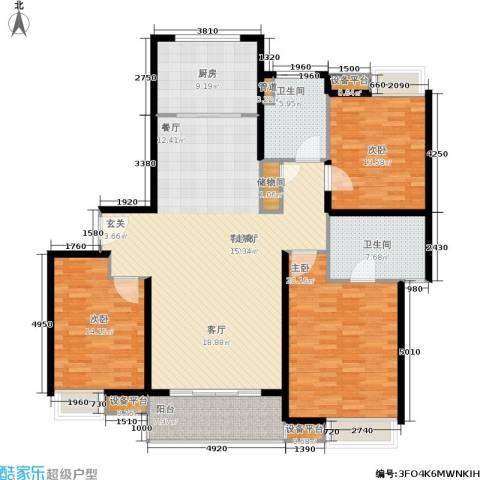 蓝天小区3室1厅2卫1厨147.00㎡户型图