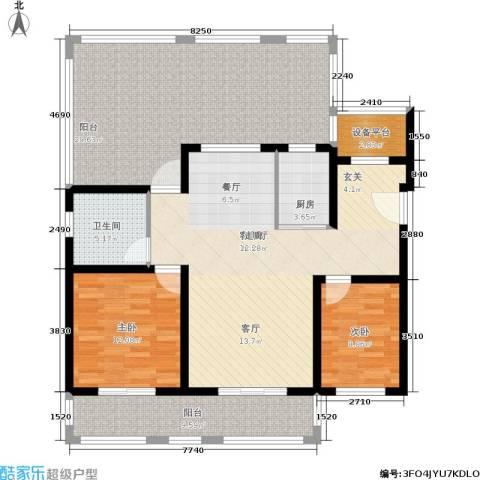 首创悦府2室1厅1卫1厨107.58㎡户型图