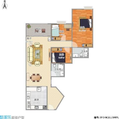 今日丽舍3室1厅2卫1厨125.00㎡户型图